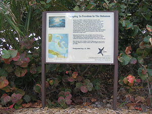 Seminole - Sign at Bill Baggs Cape Florida State Park commemorating hundreds of African-American slaves who escaped to freedom in the early 1820s in the Bahamas.