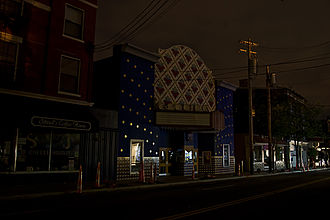 Effects of Hurricane Ike in inland North America - The Esquire Theater on Ludlow Avenue in Cincinnati during the blackout