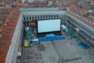 Shark Tale - Piazza San Marco, Venice, a day before the film's world premiere, where it was projected on the world's largest inflatable movie screen.