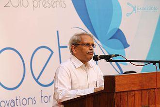 Kris Gopalakrishnan - Kris Gopalakrishnan speaking at a college function.