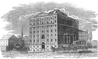 Andrew Dexter Jr. - Engraving of Boston's Exchange Coffee House, which Dexter was responsible for constructing