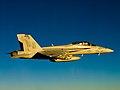 F-18F Super Hornet of VFA-11 in flight in September 2012.jpg