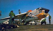 F-8C VF-84 on cat of USS Independence (CVA-62) c1963