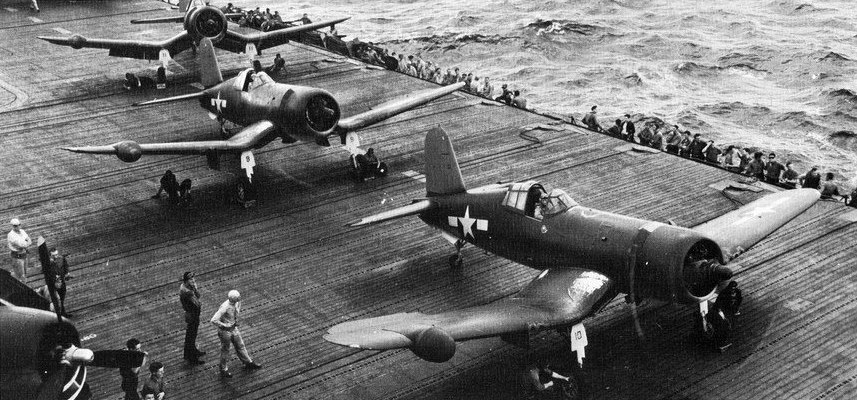 F4U-2 VFN-101 on USS Intrepid (CV-11) in 1944