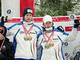 FIL European Luge Natural Track Championships 2010 - Men's Double Prize Giving Ceremony.jpg
