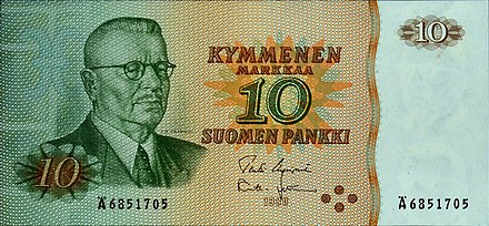 A former Finnish 10 mark banknote from 1980, depicting President J. K. Paasikivi.