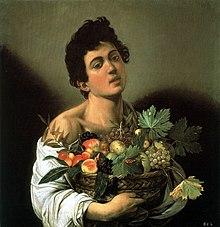 Tableau représentant un jeune garçon portant un panier de fruits.