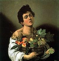 Αγόρι με καλάθι φρούτων, περ. 1593-1594, 70x67 εκ., Πινακοθήκη Μποργκέζε, Ρώμη.