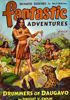 "Dwight V. Swain - Swain's novella ""Drummers of Daugavo"" was the cover story for the March 1943 issue of Fantastic Adventures, illustrated by Robert Gibson Jones"