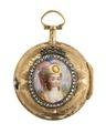 Fickur med boett av guld med miniatyrporträtt i emalj, 1700-tal - Hallwylska museet - 110409.tif