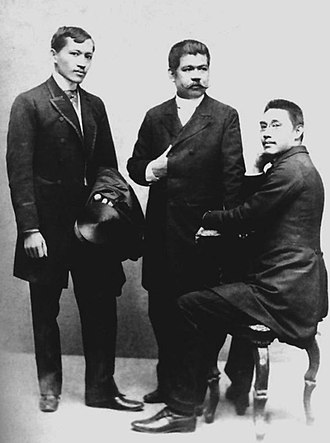 Katipunan - A late 19th century photograph of leaders of the Propaganda Movement: José Rizal, Marcelo H. del Pilar and Mariano Ponce. Photo was taken in Spain in 1890.