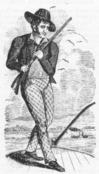 Mike Fink - An early drawing of Mike Fink, on a keelboat, with rifle in hand, ready to take on anyone, who challenged him, to a shooting match.