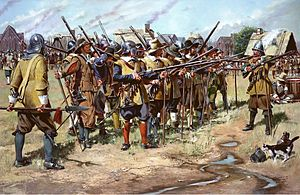 National Guard of the United States - Artist's re-creation of the first muster of the East Regiment (present-day Massachusetts Army National Guard) in Salem, Massachusetts Bay, as it may have looked