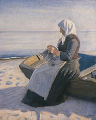 Fisherman's Wife Knitting on Skagen Beach
