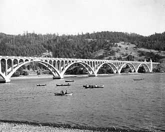 U.S. Route 101 in Oregon - The Oregon Coast Highway crossing the Rogue River