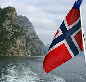 A fjord in Norway, with the Norwegian...