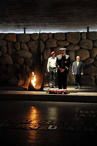 Martin Dempsey - Dempsey and Lt. General Benny Gantz, Chief of General Staff of the Israel Defense Forces visiting the Yad VaShem Holocaust Memorial Museum in Jerusalem, Israel, where Dempsey paid respect to the memory of Holocaust victims on January 20, 2012.