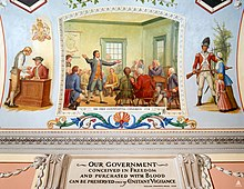 Painting illustrating taxation of colonials, British military occupation and meeting of the First Continental Congress