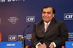 English: Mukesh Ambani during World Economic F...