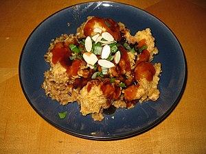 Cashew chicken - A plate of Springfield-style (deep fried) cashew chicken