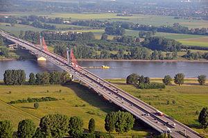 "Bundesautobahn 44 - Flughafenbrücke (""airport bridge"") across the Rhine between Krefeld and Düsseldorf Airport"