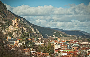 Foix - View of Chateau de Foix in Lazema area