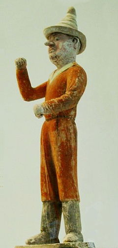 Tomb Figure of a Sogdian merchant, 7th-century. Sogdian Merchants were primary sources of slaves bought by Chinese aristocratic noblemen. ForeignMerchant.jpg