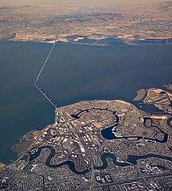 Aerial view of Foster City and the San Mateo Bridge