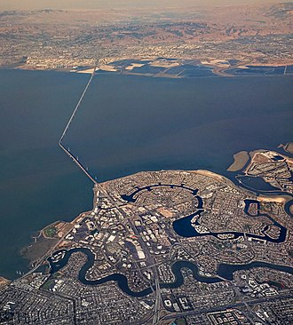 Foster City, California - Aerial view of Foster City and the San Mateo Bridge