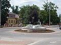 Fountain and Government Office in Gyömrő, Pest County, Hungary.jpg