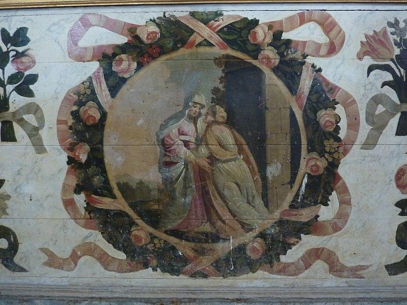 Église de Saint-Loup, Manche, France. Visitation, détail de l'autel de la Vierge Marie.