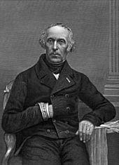 Lithographie du portrait d'un homme assis qui glisse la main gauche dans sa veste