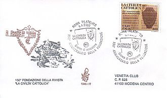 La Civiltà Cattolica - Italian stamp commemorating the 150th anniversary of the Civiltà Cattolica