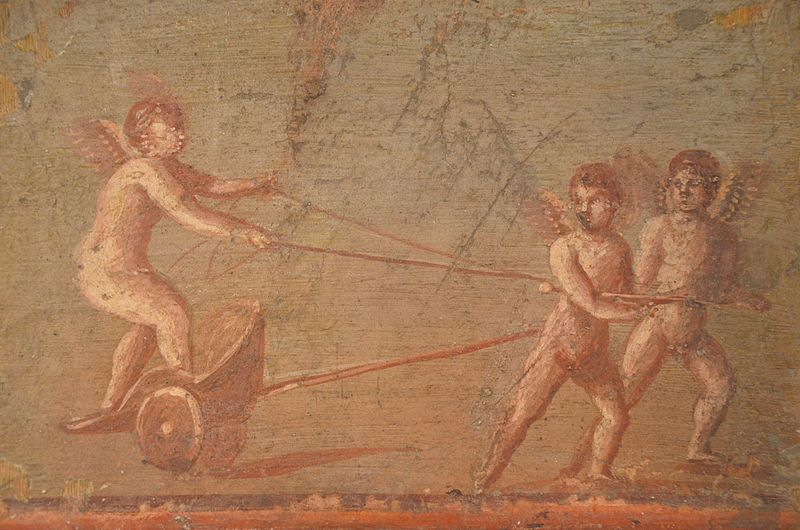 File:Fresco depicting a Cupid in a chariot being pulled by two other Cupids, from the cryptoporticus of the House of the Deer in Herculaneum, Empire of colour. From Pompeii to Southern Gaul, Musée Saint-Raymond Toulouse (16093787299).jpg
