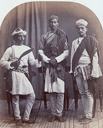 Shudra - A Gurkha, a Brahmin and a Shudra in an 1868 photo.
