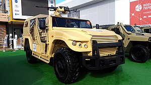"GAZ ""Tigr"" (yellow colored) during the ""Armiya 2020"" exhibition (front view).jpg"
