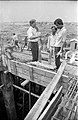 G Nagarajan And Other NCSM Officials Discussing - Concrete Roofing In Progress - Science City Site Office - Dhapa - Calcutta 1993-October 706.JPG