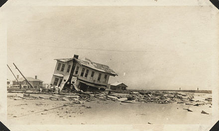 August: Destruction by the 1915 Galveston hurricane. Galveston Hurricane 1915 wrecked home.jpg
