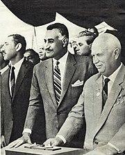 Gamal Abdel Nasser com Nikita Khrushchov.