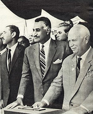 "Aswan Dam - Egyptian President Nasser and Russian leader Nikita Khrushchev at the ceremony to divert the Nile during the construction of the Aswan High Dam on 14 May 1964. At this occasion Khrushchev called it ""the eighth wonder of the world""."