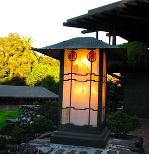 Gamble House (Pasadena, California) - Outdoor lamp on the back porch.