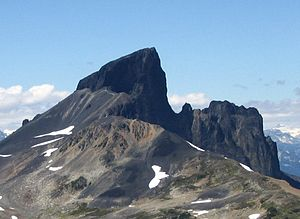 Garibaldi Volcanic Belt - The Black Tusk viewed from the southeast. Its craggy edifice is the result of prolonged erosion.