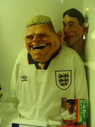 Paul Gascoigne - His tears in the national limelight made Gascoigne famous enough to be lampooned on Spitting Image. His puppet, which employed projectile tears, is now on display at the National Football Museum.