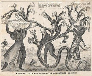 A thin older man uses a sword to attack a snake with multiple human heads representing different public figures