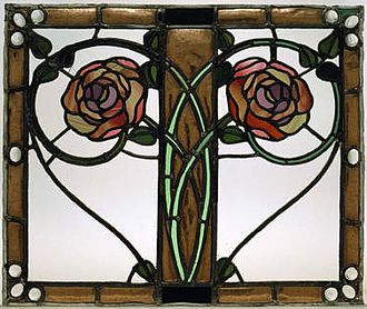 George Henry Walton - A copper and stained glass door panel designed by George Henry Walton for the luncheon room at Miss Cranston's Argyle Street Tea Rooms