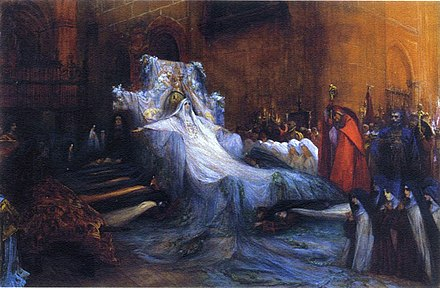 Portrait of Sarah Bernhardt as Therese in La Vierge d'Avila by Catulle Mendes (1906) Georges Jules Victor Clairin (1843-1919), Sarah Bernhardt (1844-1923) in ''Sainte Therese d'Avila''.jpg