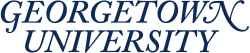 Stylized blue text with the words Georgetown University.