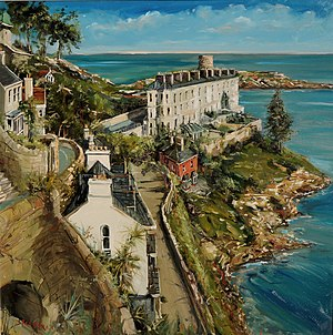 Sorrento Terrace Dalkey, Ireland, oil on canvas by Irish artist Gerard Byrne, 2014