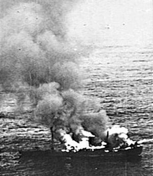 MV Kerlogue - German blockade runner Alsterufer burning after having been attacked No. 311 Squadron RAF