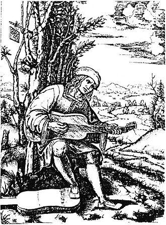 Giovanni Filoteo Achillini - A well-known engraving of Giovanni Filoteo Achillini; Suonatore di viola da mano, by Marcantonio Raimondi, ca. 1510. It was produced from a lost original painting by Francesco Francia.